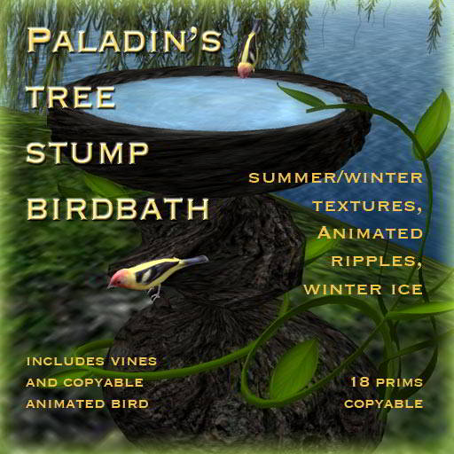 Paladin's Tree Stump Birdbath
